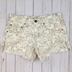 Free People Paisley Floral Cut Off Jean Shorts